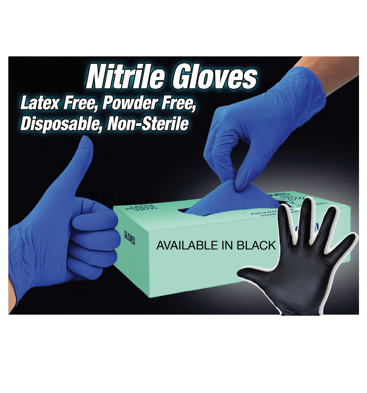 NITRILE GLOVES, BLUE, MEDIUM, 50 PAIRS/BOX
